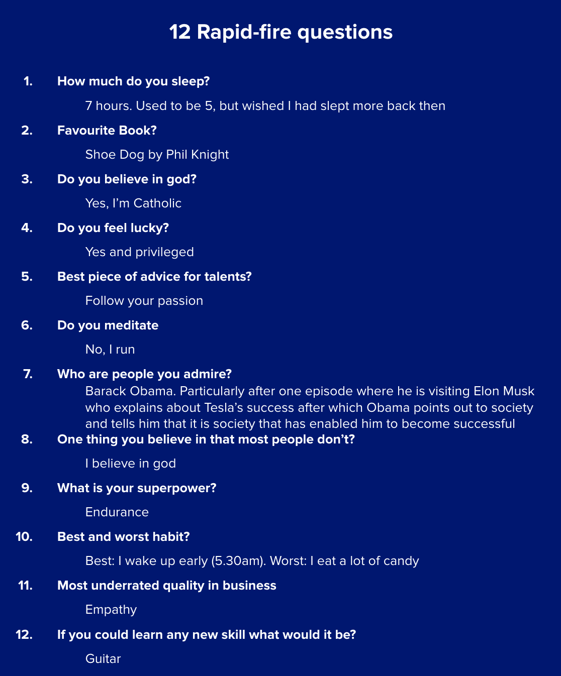 12 rapid fire questions Tue Mantoni